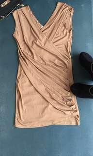 Wrap gold mini dress