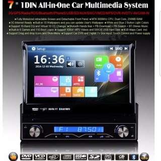 7 Universal 1 Din Car Audio DVD Player