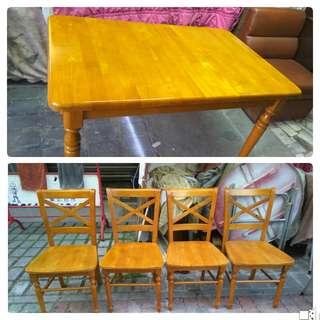 原木1桌4椅餐桌組121*78*74限送台南市區