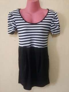 Striped top design one piece hugging dress