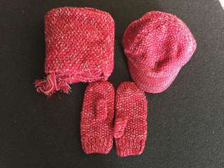 Red Knitted Cap, Scarf and Mittens Set