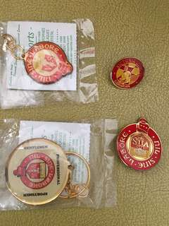 ST JOSEPH's convent and Victoria School keychain, badge and librarian badge and xinmin class chairman badge