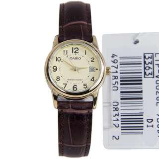 LTP-V002GL-9BUDF LTP-V002GL-9B LTP-V002GL Brand New Casio Quartz Analog 100% Genuine Date Leather Strap Womens Casual Watch w/ Warranty