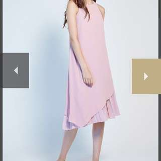 Lovengold Paige Asymmetrical Pleated Dress in Blush