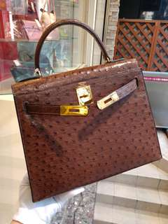Hermes kelly 28 ostrich brown