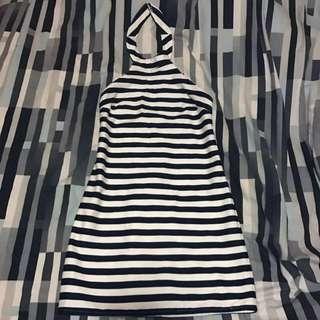 Tokito Navy And White Striped Halter Dress Size 8