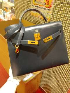 Hermes kelly 32 in navy blue