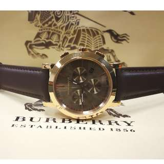 BURBERRY Herringbone Chronograph Brown Dial Rose Gold-Plated Watch ##BU1863