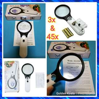 🌟 3 LED Hand-held Magnifier / Loupe /  Magnifying Glass  ✔Magnification: 45x & 3x  ✔Illumination: LED Lights  ✔FREE AAA Batteries  ✔Can be used for: ✅Jewellery Evaluating ✅Watch ✅Amulets ✅Coins & Notes  ✅Stamps