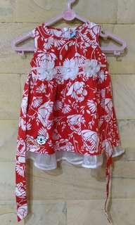 Dress Baby Merah putih Bunga2