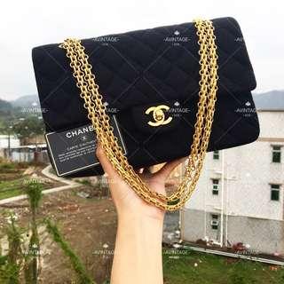 (SOLD)Chanel Vintage 黑色布面 Classic Flap 25cm