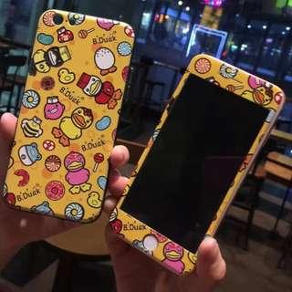 手機殼IPhone6/7/8/plus + 前膜 : 卡通黃鴨B-DUCK