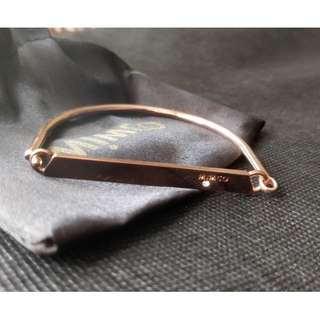 MIMCO Rose Gold Bracelet With Gem Detail And 'Mimco' Engraving Bangle Latch Style Unique Shape
