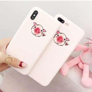 手機殼IPhone6/7/8/plus/X : 可愛小豬豬粉色磨砂