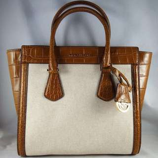 Michael Kors Colette Large Embossed-Leather and Canvas Satchel