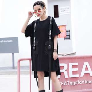 PO Hong Kong Designer Street Style Uneven Belted Dress