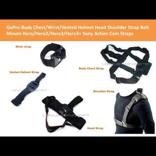 GoPro Body Chest/Wrist/Vented Helmet Head Strap Handle Mount Straps Hero/Hero2/Hero3/Hero3+ Sony Action Cam JVC Adixxion