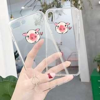 手機殼IPhone6/7/8/plus/X : 可愛小豬豬透明全包
