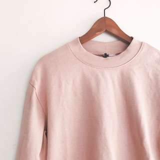 H&M Sweatshirt with Side Slits in Powder Pink