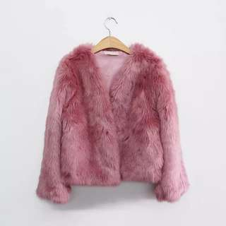 Faux fur coat (pink)