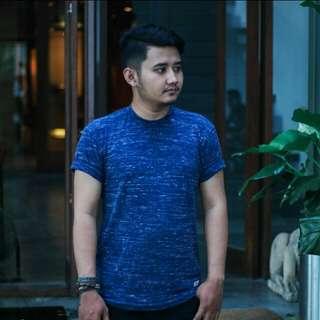 Baju Kaos Distro Biru Navy Motif Two Tone / Premium Quality
