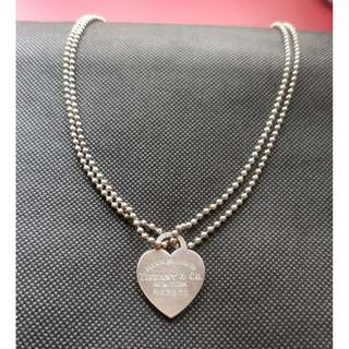 "TIFFANY & CO 'Please Return To' Heart Necklace Large Pendant 34"" Chain Sterling Silver 925"