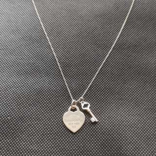 "TIFFANY & CO 'Please Return To' Necklace Heart Tag With Key Pendant Medium Size 18"" Chain Sterling Silver 925"