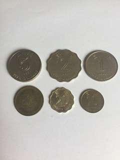 1997年 香港硬幣 非回歸紀念硬幣 5元 2元 1元 5毫 2毫 1毫 洋紫荊
