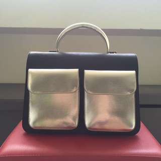 Charles & Keith silver X black boxy structured camera work like along bag