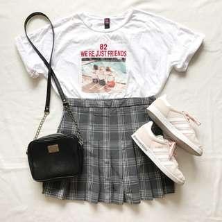 Ulzzang Korean Pleated Grey Checkered Skirt