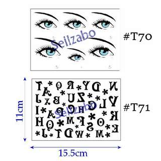 #T70 #Z71 : Fake Temporary Body Tattoos Stickers Sellzabo Colour Coloured Colourful Eye Balls ABC