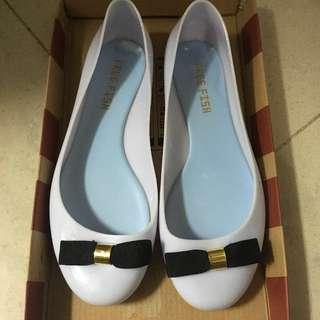 🇯🇵雨天用 粉藍色 防水膠鞋 日本 free fish 蝴蝶結平底鞋 雨鞋 rain shoes high heels