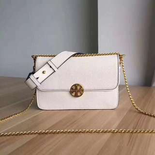 Tory Burch Chelsea Two Strap Leather / Chain Bag White