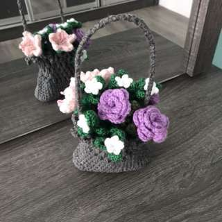 Crochet grey Basket with flowers - lilac roses n pink flowers