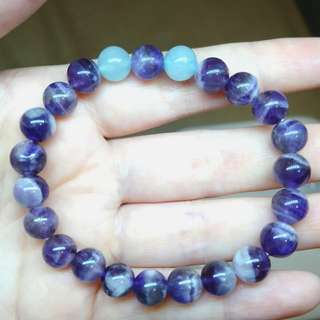 Amethyst & Aquamarine Gemstone Bracelet natural elastic 8mm 1 pc