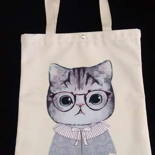 Cat Design Tote Bag with button