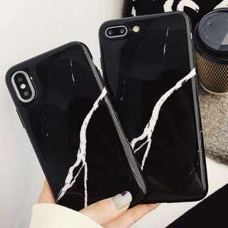 手機殼IPhone6/7/8/plus/X : 簡約黑色大理石全包光面