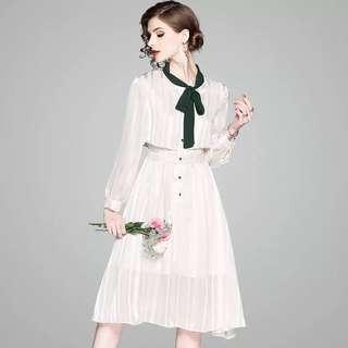 Long sleeve bow tie one piece office wear dress