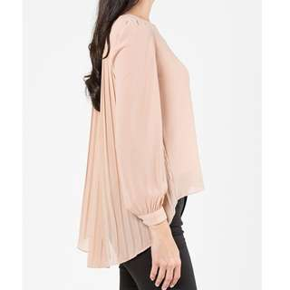 CANGKUK Back Pleated Top in Nude