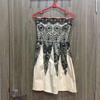 Lace Satin Tube Dress