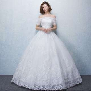 Long Lace White Wedding Dress / Gown