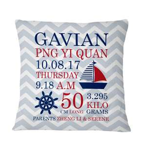 Personalised Pillow Cushion Cover Nautical Baby Shower Gift