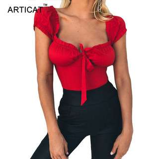 IAMGIA INSPIRED TIE BOW PUFFY TOP