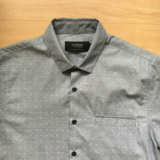 TOPMAN Light Grey and White Pattern Polo