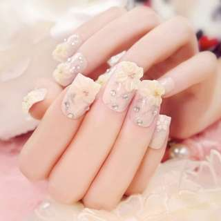 24Pcs/Set Fashion Flower Fake Nails Art Tips Acrylic Nail False Artificial Nail  T35