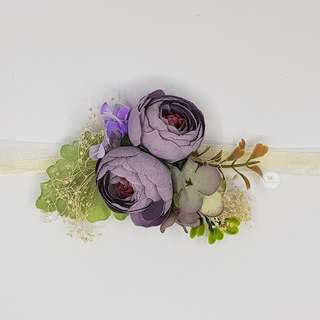 Peony Flower Wrist Corsage Purple Wedding Bridesmaid
