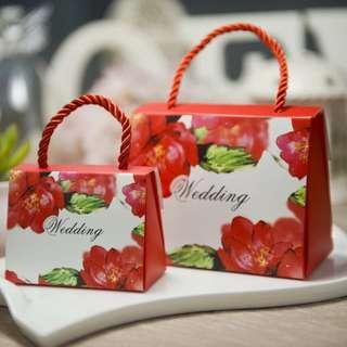 PO Red Floral Mini Wedding Gift Favor Bag