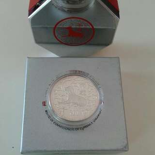 Dog . 1994. $10,silver Piedfort Proof Coin.