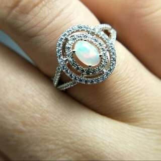 Woman's Opal Natural Gemstone 925 Sterling Silver Ring