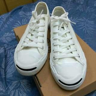 皮革開口笑小白鞋 24.5